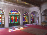 Colourful Stained Glass in the Maharaja's Throne Room, Meherangarh Fort Museum, Jodhpur, India Photographic Print by Eitan Simanor