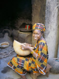 Woman Sitting in Courtyard, Djenne, Mali, Africa Photographic Print by Bruno Morandi