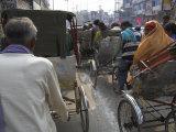 Rickshaw Transport on Busy Street, Varanasi, Uttar Pradesh State, India Photographic Print by Eitan Simanor