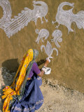 Woman Painting Designs on Her House, Tonk Region, Rajasthan State, India Photographic Print by Bruno Morandi