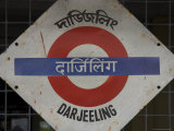 Close up of a British Style Station Sign at Train Station, Darjeeling, West Bengal State, India Lmina fotogrfica por Eitan Simanor