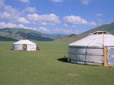 Yurts (Ghers) in Orkhon Valley, Ovorkhangai Province, Mongolia, Central Asia Lmina fotogrfica por Bruno Morandi
