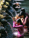 Young Women at Tirta Empul Temple, Ubud Region, Island of Bali, Indonesia, Southeast Asia Photographic Print by Bruno Morandi