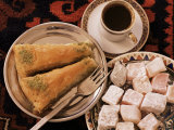 Typical Turkish Desserts - Baklava, Loukoumi (Turkish Delight), and Turkish Coffee, Turkey, Eurasia Photographic Print by Michael Short