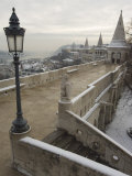 Snow on Fishermans Bastion, Castle Hill Area, Budapest, Hungary Photographic Print by Christian Kober