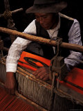 Local Man Weaving, Amantani, Lake Titicaca, Peru, South America Photographic Print by Marco Simoni