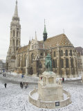 Snow on St. Stephen's Statue, Castle Hill Area, Budapest, Hungary Photographic Print by Christian Kober