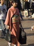 Woman in Kimono, Shibuya, Tokyo, Japan Photographic Print by Christian Kober