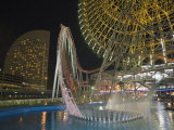 Rollercoaster and Fun Fair Amusement Park at Night, Minato Mirai, Yokohama, Japan Photographic Print by Christian Kober