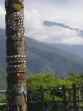 Totem Pole, Valley Scenery, Taiwan Aboriginal Culture Park, Pingtung County, Taiwan Photographic Print by Christian Kober