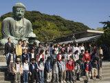 School Children at the Big Buddha Statue, Kamakura City, Kanagawa Prefecture, Japan Photographic Print by Christian Kober