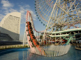 Rollercoaster and Fun Fair Amusement Park, Minato Mirai, Yokohama, Japan Photographic Print by Christian Kober