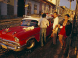 Street Scene with Old Car, Trinidad, Cuba, West Indies, Central America Photographic Print by Bruno Morandi