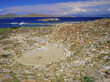 View of the Theatre and the Island, Delos, Cyclades Islands, Greece Photographic Print by Marco Simoni