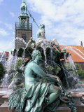 Fountain, Red Town Hall Square, Berlin, Germany Photographic Print by Bruno Morandi