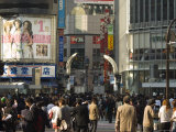 Crowds of People, TV Screen, Shibuya, Tokyo, Japan Photographic Print by Christian Kober