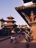 View of Temples and People Walking in Durbar Square, Patan, Nepal Photographic Print by Marco Simoni