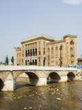 Miljacka River, the National and University Library Austro Hungarian Building, Bosnia Photographic Print by Christian Kober