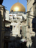 Dome of the Rock, Haram Ash-Sharif (Temple Mount), Back Alley of Old Walled City, Jerusalem, Israel Photographic Print by Christian Kober