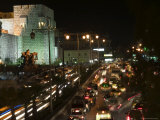 Car Lights, Walled City by Night, Damascus, Syria, Middle East Photographic Print by Christian Kober
