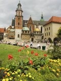 Flower Garden and Wawel Cathedral Dating from 14th Century, Wawel Hill, Old Town, Krakow (Cracow) Photographic Print by Christian Kober