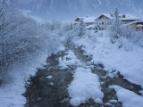 Snow Covered River and Houses, Mayrhofen Ski Resort, Zillertal Valley, Austrian Tyrol, Austria Photographic Print by Christian Kober