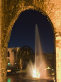 Fountain and Water Wheel on the Orontes River at Night, Hama, Syria, Middle East Photographic Print by Christian Kober