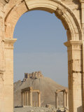 Qala'At Ibn Maan Citadel Castle Seen Through Monumental Arch, Archaelogical Ruins, Palmyra, Syria Photographic Print by Christian Kober