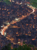 City and Car Lights of Jounieh, Near Beirut, Lebanon, Middle East Impressão fotográfica por Christian Kober