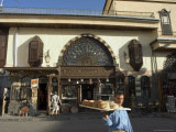 Man with Bread Walking Past Souvenir Shop, Damascus, Syria, Middle East Photographic Print by Christian Kober