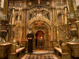 Priest at Tomb of Jesus Christ, Church of Holy Sepulchre, Old Walled City, Jerusalem, Israel Photographic Print by Christian Kober