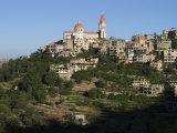 St. Saba Church and Red Tile Roofed Town, Bcharre, Qadisha Valley, North Lebanon Photographic Print by Christian Kober