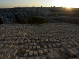 Sunset, Jewish Cemetery, Mount of Olives, Jerusalem, Israel, Middle East Photographic Print by Christian Kober
