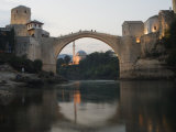 Stari Most Peace Bridge and Reflection of Mosque on Neretva River, Bosnia, Bosnia-Herzegovina Photographic Print by Christian Kober