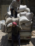 Men Loading Grain, Aleppo (Haleb), Syria, Middle East Photographic Print by Christian Kober