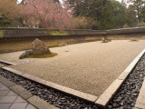 Ryoanji Temple, Dry Stone Garden and Blossom, Kyoto City, Honshu Island, Japan Photographic Print by Christian Kober