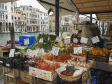Fruit and Vegetable Stall at Canal Side Market, Venice, Veneto, Italy Photographic Print by Christian Kober