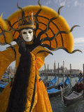 Masked Face and Costume at the Venice Carnival, Venice, Italy Fotografie-Druck von Christian Kober