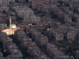 Aerial View of City at Night Including a Floodlit Mosque, Damascus, Syria, Middle East Photographic Print by Christian Kober