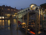 Grand Canal, Rialto Bridge at Night, Gondolas on Waterfront, Venice, Veneto, Italy Photographic Print by Christian Kober