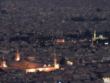 Aerial View of City at Night Including the Umayyad Mosque, Damascus, Syria Photographic Print by Christian Kober