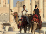 Young Men on Camels, Archaelogical Ruins, Palmyra, Unesco World Heritage Site, Syria, Middle East Photographic Print by Christian Kober