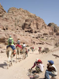 Tourist on Camels in Petra, Unesco World Heritage Site, Wadi Musa (Mousa), Jordan, Middle East Photographic Print by Christian Kober