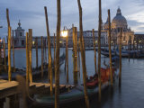 Gondolas on Waterfront at Night, Church Basilica, Venice, Unesco World Heritage Site, Veneto, Italy Photographic Print by Christian Kober