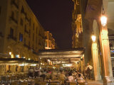 Street Side Cafe Area, Place d'Etoile (Nejmeh Square) at Night, Downtown, Beirut, Lebanon Photographic Print by Christian Kober