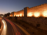 Night Time Lights of Traffic, Jaffa Gate, Old Walled City, Jerusalem, Israel, Middle East Photographic Print by Christian Kober