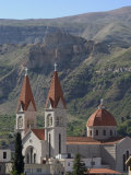 St. Saba Church, Red Tile Roofed Town, Bcharre, Qadisha Valley, North Lebanon, Middle East Photographic Print by Christian Kober