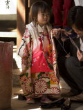 7-5-3 Festival, Girl at Kitano Tenmangu Shrine, Kyoto City, Honshu, Japan Photographic Print by Christian Kober