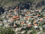 St. Saba Church and Red Tile Roofed Town, Bcharre, Qadisha Valley, North Lebanon Photographic Print by Christian Kober