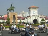 Tran Nguyen Han Statue, Ben Thank Public City Market, Ho Chi Minh City (Saigon), Vietnam Photographic Print by Christian Kober